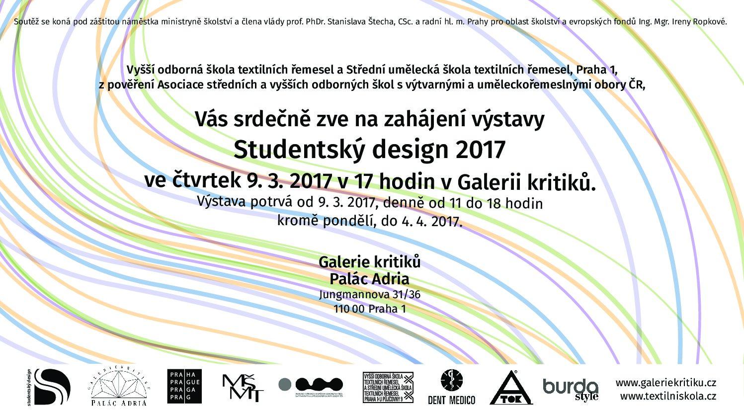 27. ročník soutěže Studentský design 2017